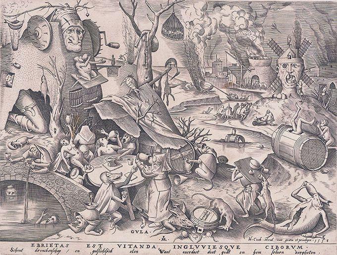 「ベルギー 奇想の系譜」 ピーテル・ブリューゲル(父)[原画]《大食》1558年 エングレーヴィング、紙  | ファッションプレス