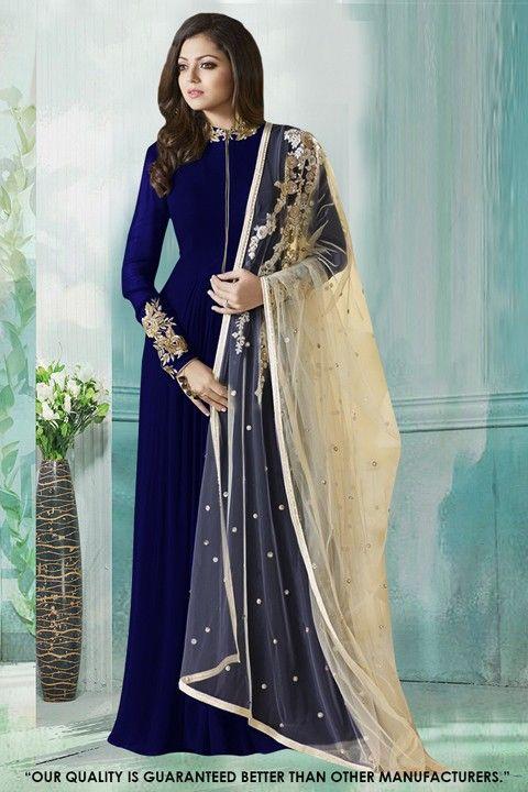 5d171e91211 Fancy Blue Georgette Anarkali Gown - 71231C