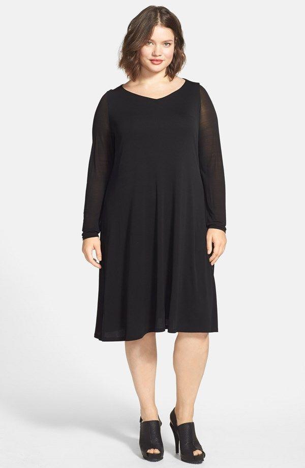 A Line V Neck Silk Dress Plus Size Miss Tara Lynn Pinterest