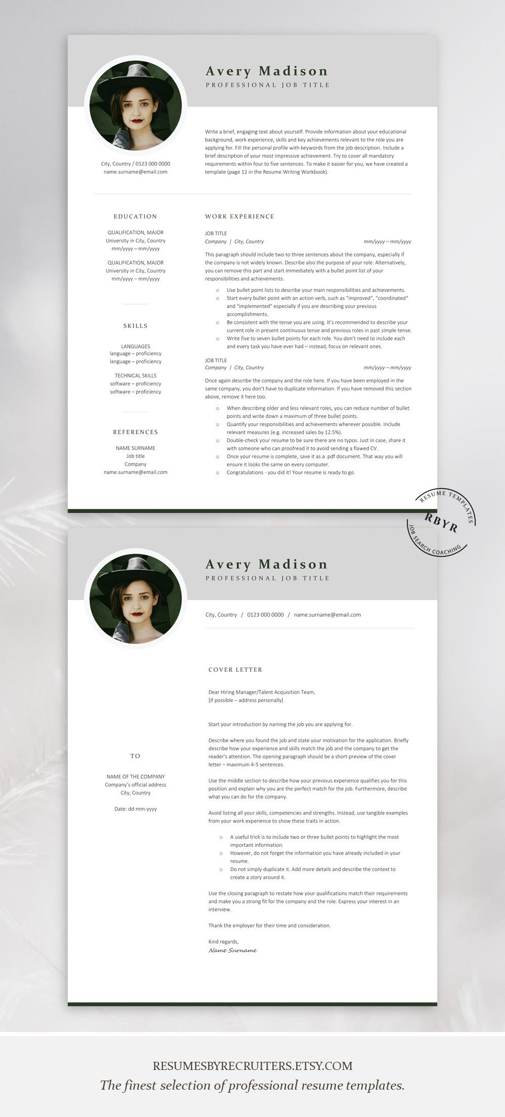 Modern Resume Template With Photo Instant Download Resume Cv Etsy Cover Letter Template Resume Template Unique Resume