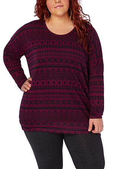 image of Tribal Striped Cozy Dolman Sweater