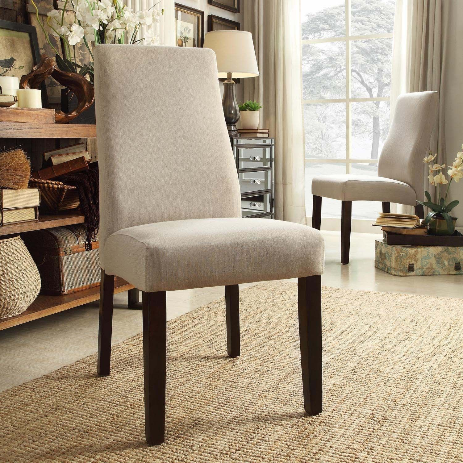 Inspire Q Marcey Grey Fabric Wave Back Dining Chair (Set of 2) (Light