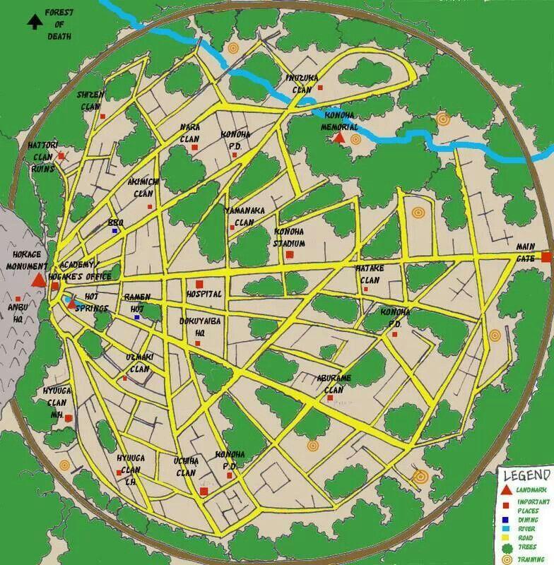 The village of the Hidden Leaf #Naruto | Naruto, Map, Naruto
