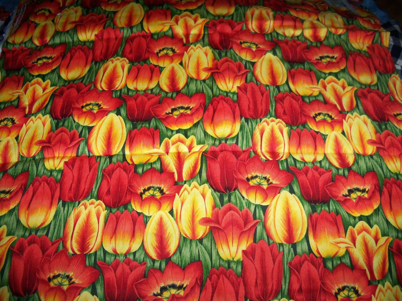 Emma's Flowers Tulips,Henley Studio,Makower,1 Yard,Last Piece by susiesfabrics on Etsy
