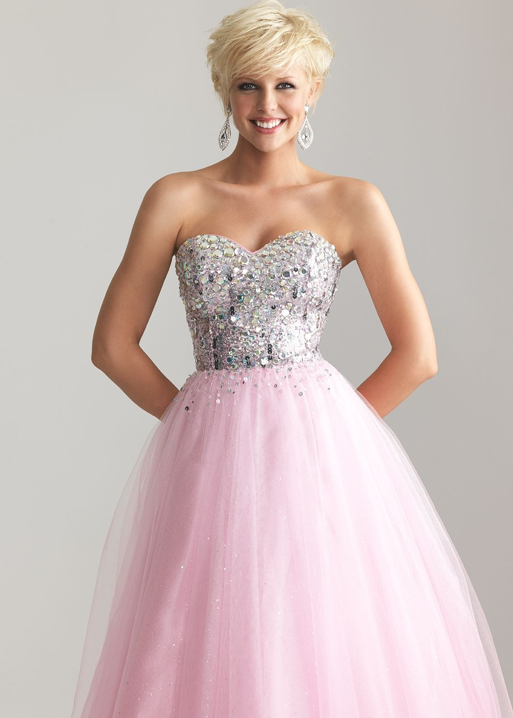 Night moves pink beaded strapless ball gown prom dresses