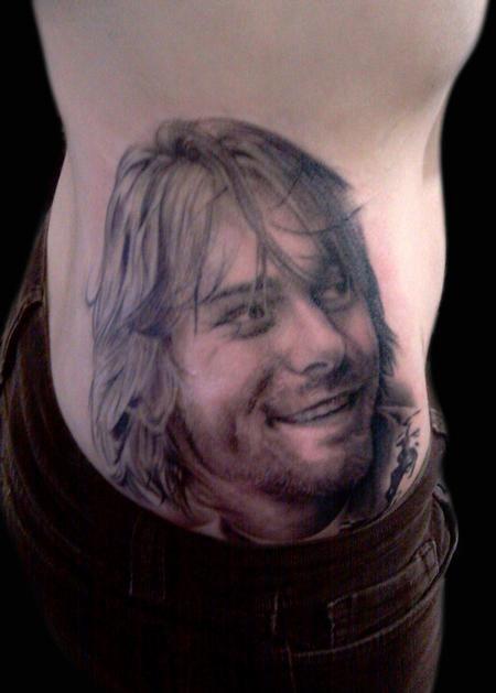 Frank Sanchez - Kurt Cobain Portrait Black & Grey Tattoo---Incredible!