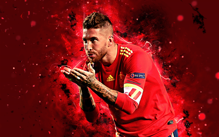 Download wallpapers Sergio Ramos, 4k, goal, Spain National