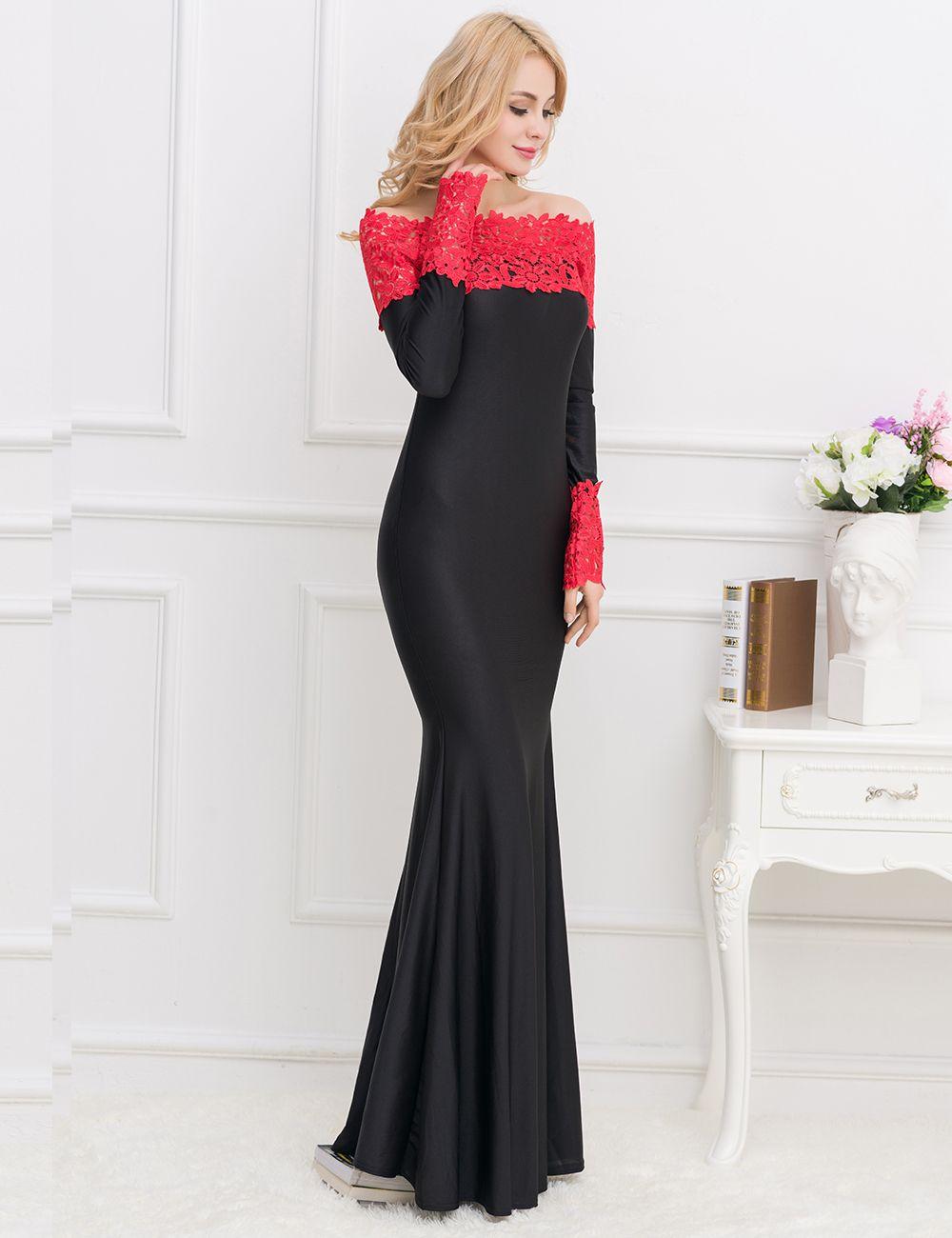 Vestido largo encaje spandex