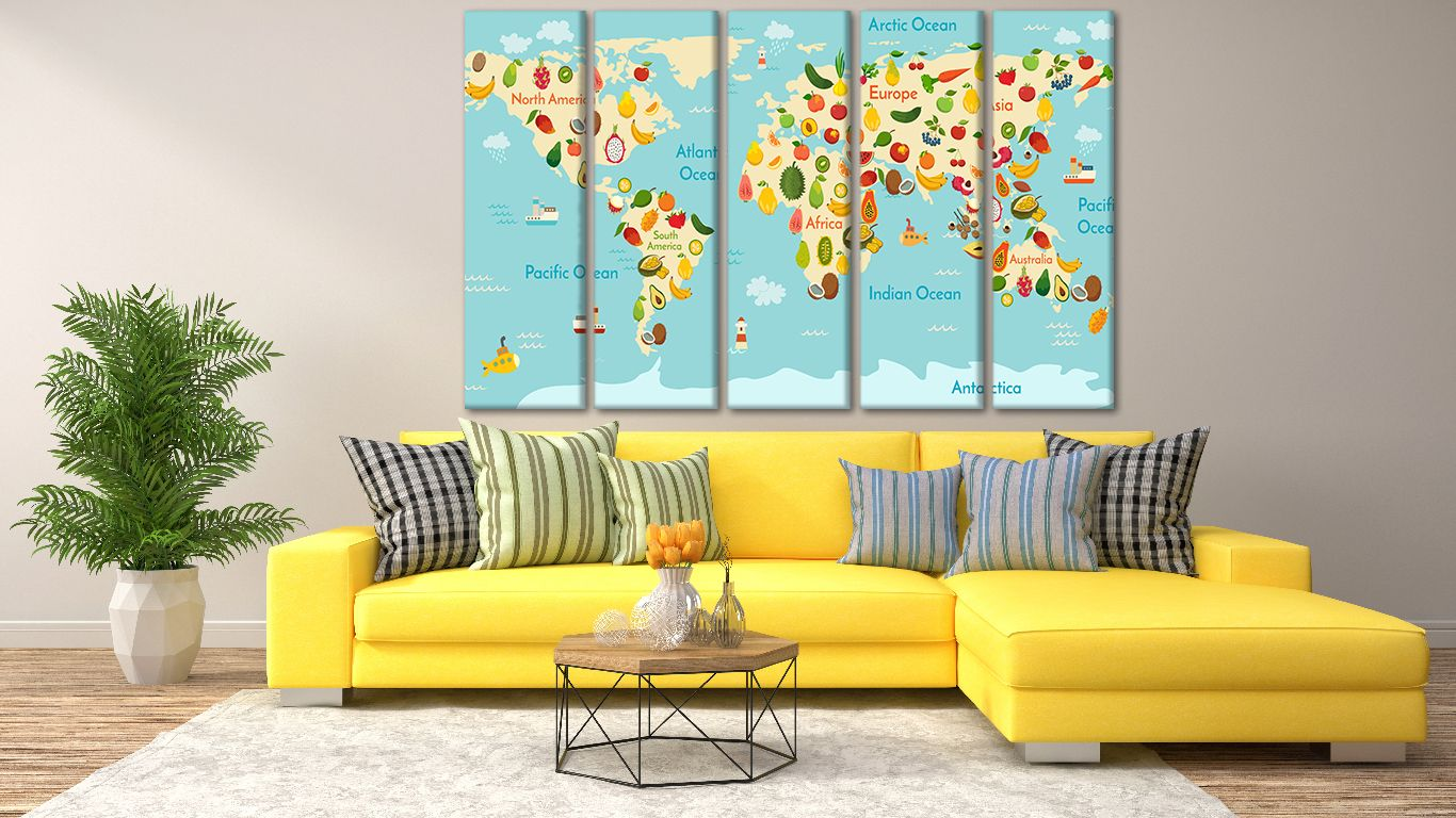 Kids room decor, Animal World, Kids world Map, Kids World Map ...