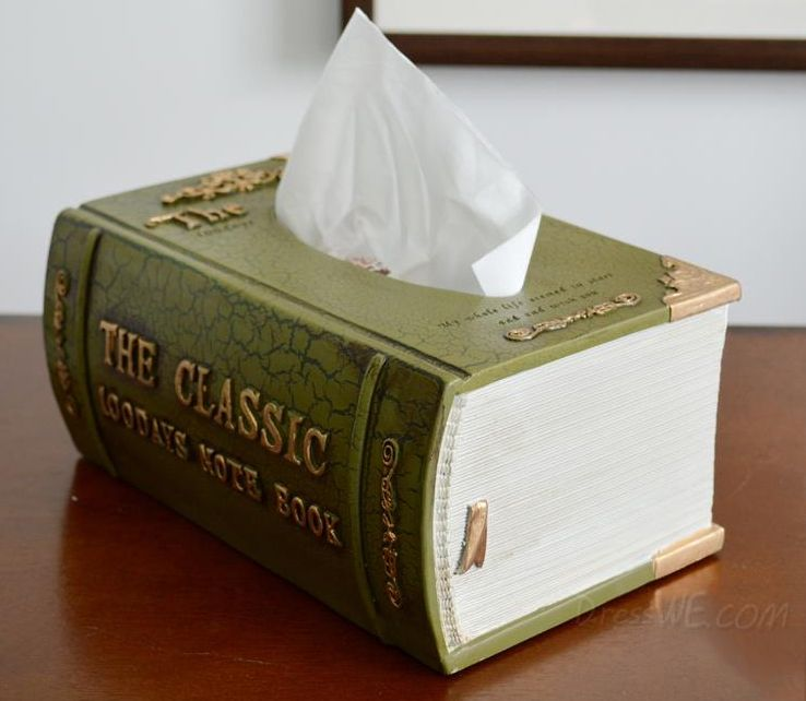 gift idea for book lovers a book tissue box dispenser home decor pinterest buecher. Black Bedroom Furniture Sets. Home Design Ideas