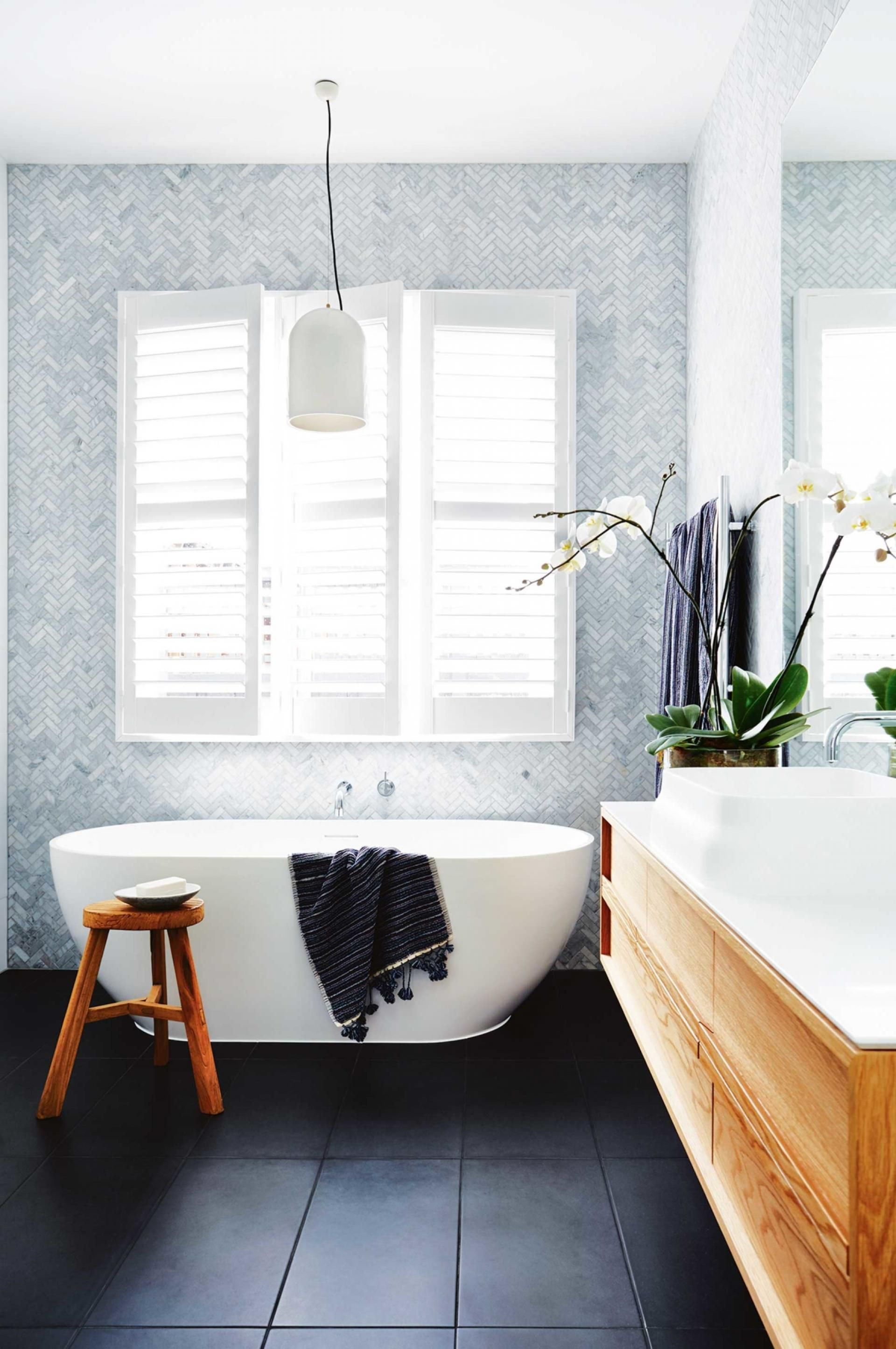 Brightbathroom ofi dec16 spaces and places pinterest timber herringbone tile seems to give it rhythm and pattern without being overbearing dailygadgetfo Gallery