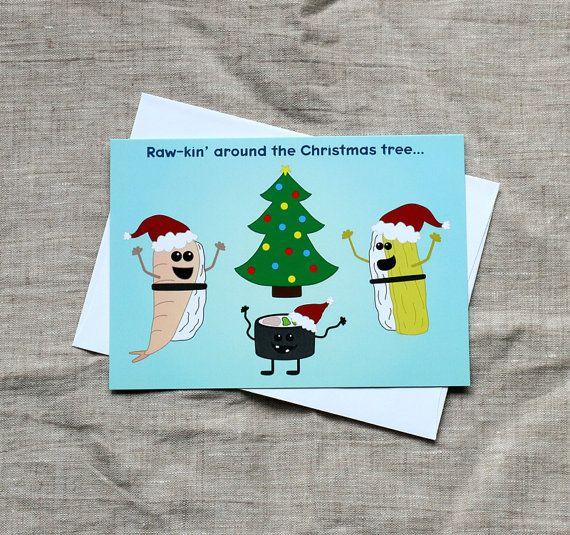 Cute Christmas Puns.Funny Christmas Card Sushi Christmas Card Rawkin Around