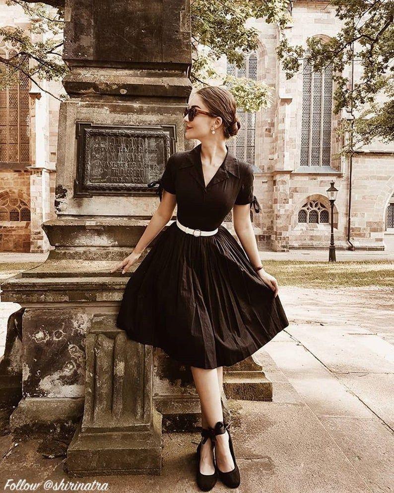 Trudie Dress In Solid Raven Black Cotton Vintage Black Dress Vintage Inspired Outfits Vintage Dresses [ 992 x 794 Pixel ]