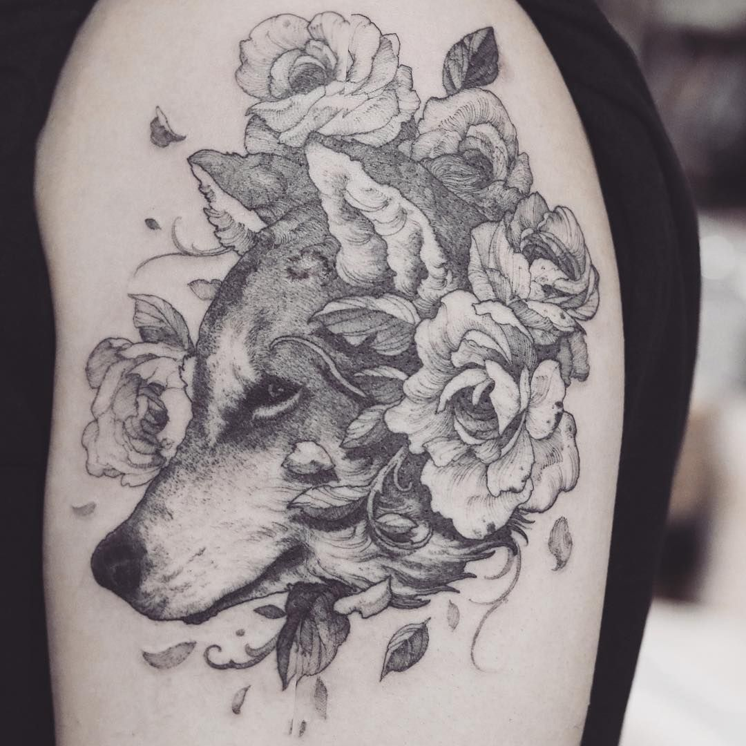 Wooooooooolf Tattoo Justiceink Wolf Flowers Blackwork