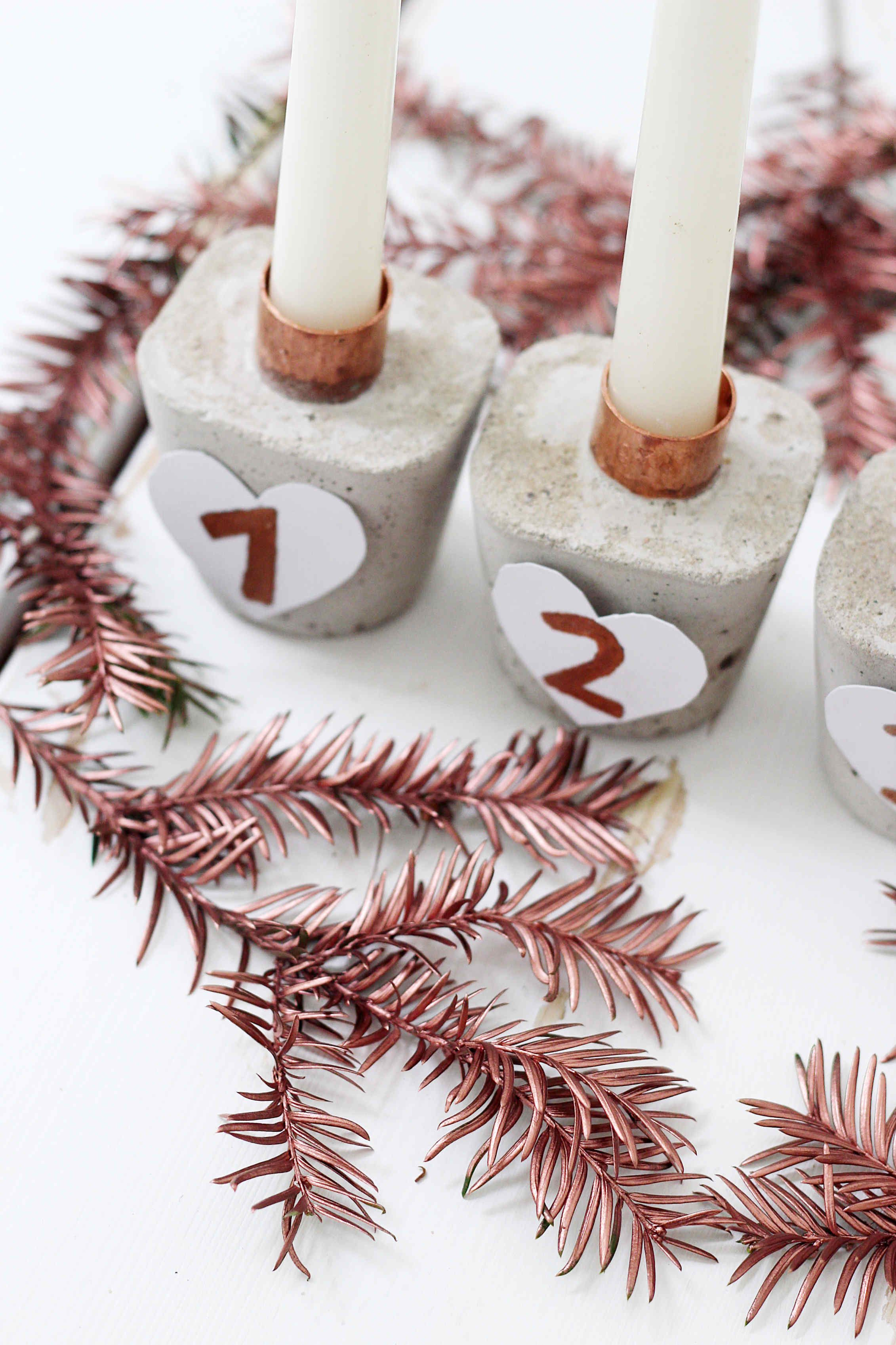 Modern Advent Wreath made of concrete itself Super simple