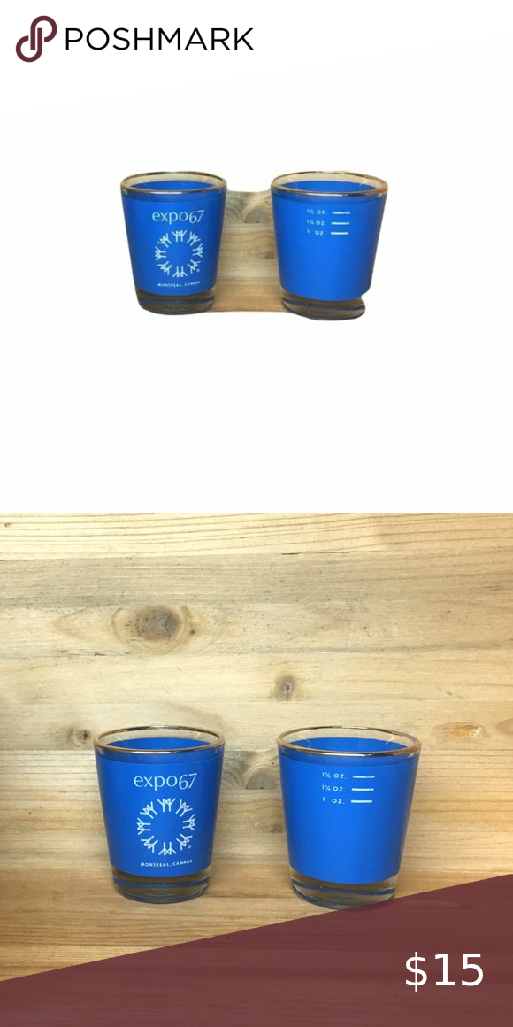 gold rim 2.5 in Vintage Pristine Condition Expo 67 Man and His Habitat Shot Glass 1.5 oz Blue