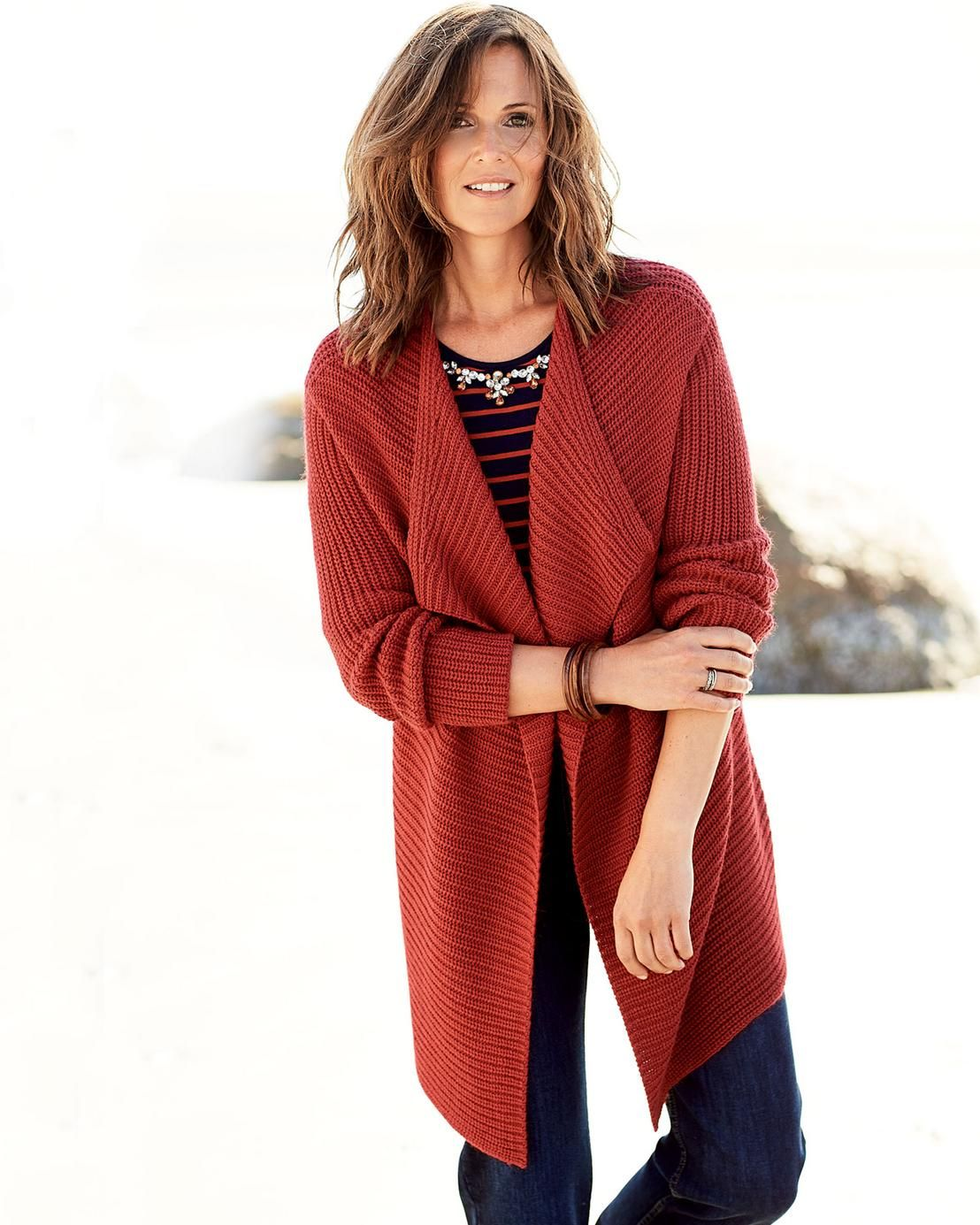 Red and black flannel cardigan  Long Cardigan  Long cardigan Rib knit and Cotton