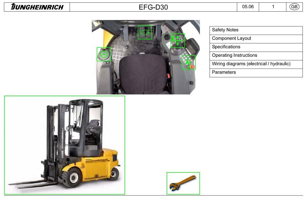 Jungheinrich Electric Lift Truck Type Efg D30 122005 122008 Hydraulic Diagram For Wiring Original Illustrated Factory Workshop Service Manual Manuals Forklift