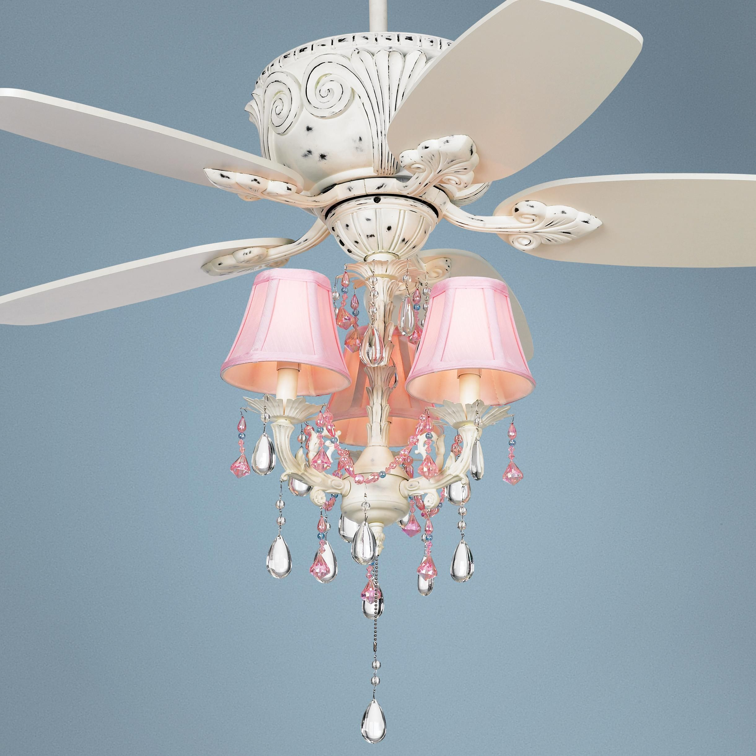 "44"" Casa Deville Pretty in Pink Pull Chain Ceiling Fan"