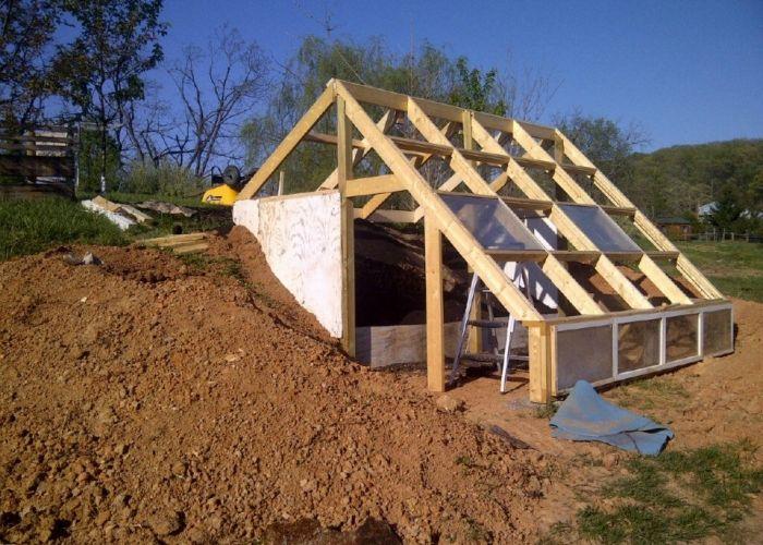 Earth Sheltered Greenhouse Hugelkultur Integration Gewachshausplane Gewachshaus Hutte Glashaus