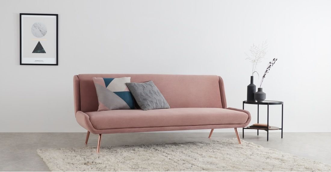 MADE Vintage Pink Velvet Sofa bed Cheap sofa beds, Retro