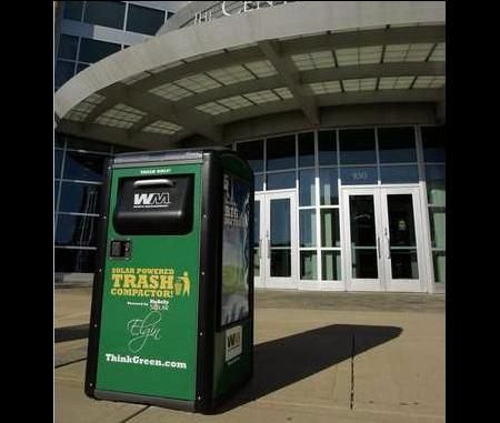 Elgin goes green with self compacting solar powered trash cans