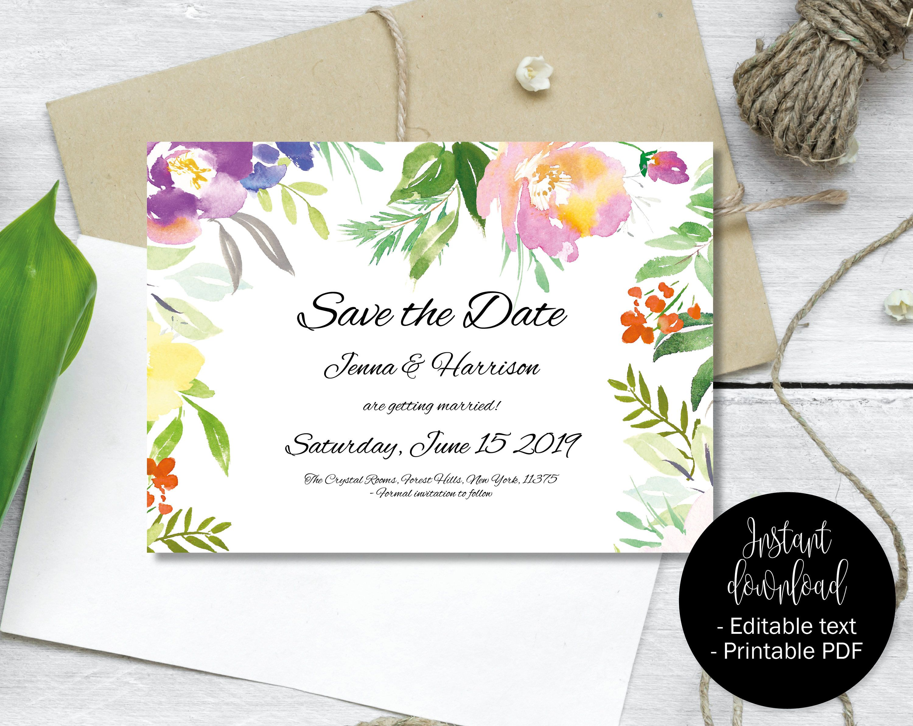 Wedding Save the Date Template Editable Save Date PDF Printable