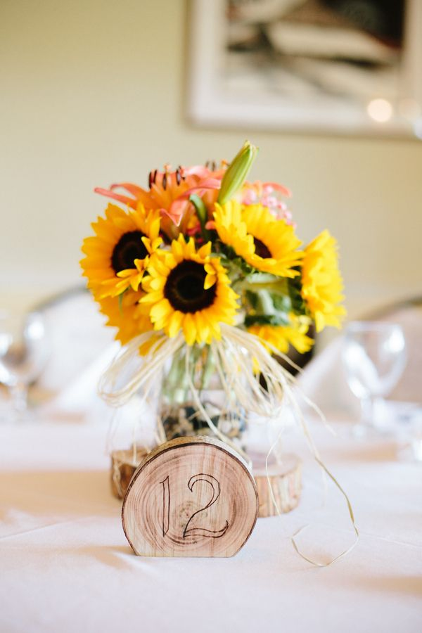 Wood Table Numbers {Coral & Yellow} Rustic Fall Wedding Photographer:  Chelsea Anderson Photography