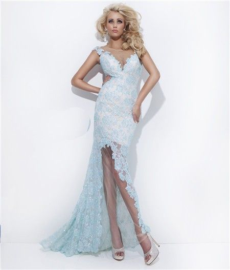 Sexy Sheath Sheer Illusion Neckline Backless Long Light Blue Lace ...