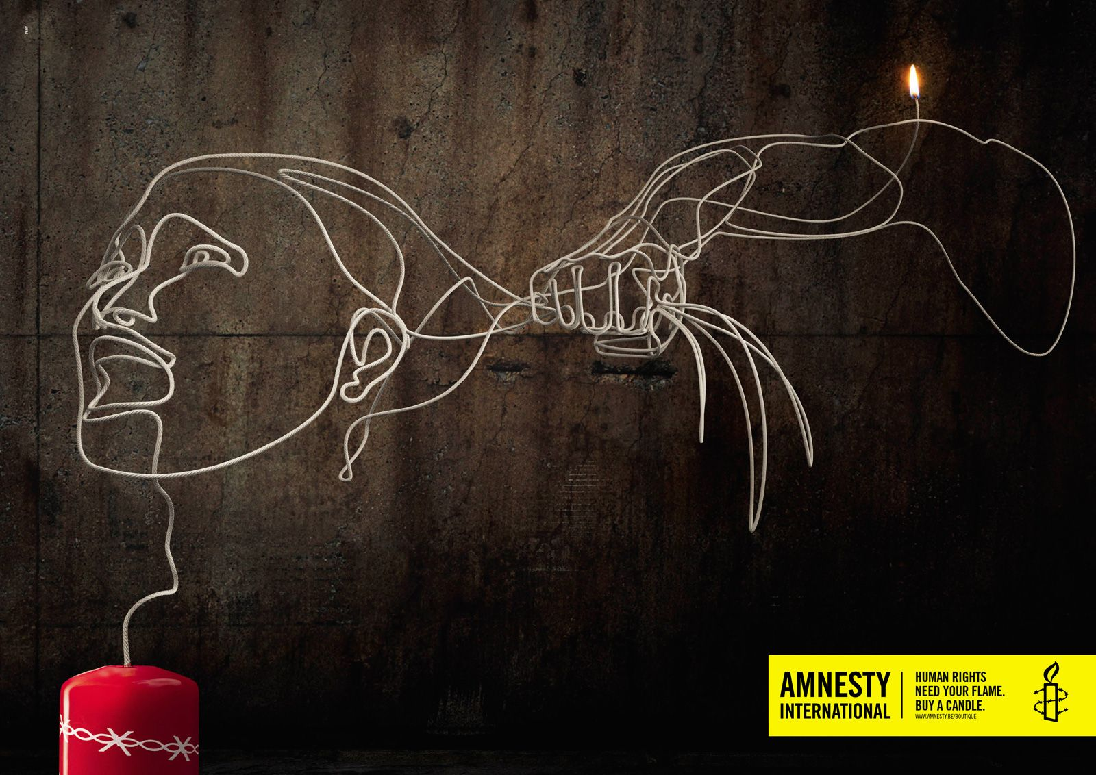 "Souvent Amnesty International: Woman ""Human rights need your flame. Buy a  KX28"