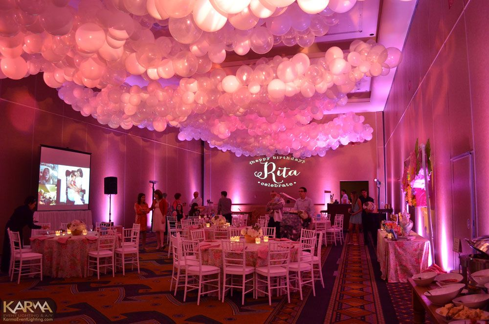 I love the balloon ceiling and uplights WigwamLitchfieldBirthday