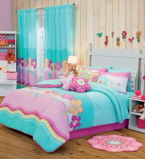 Twin full queen bunk bed girls garden comforter set - Complete bedroom sets with curtains ...