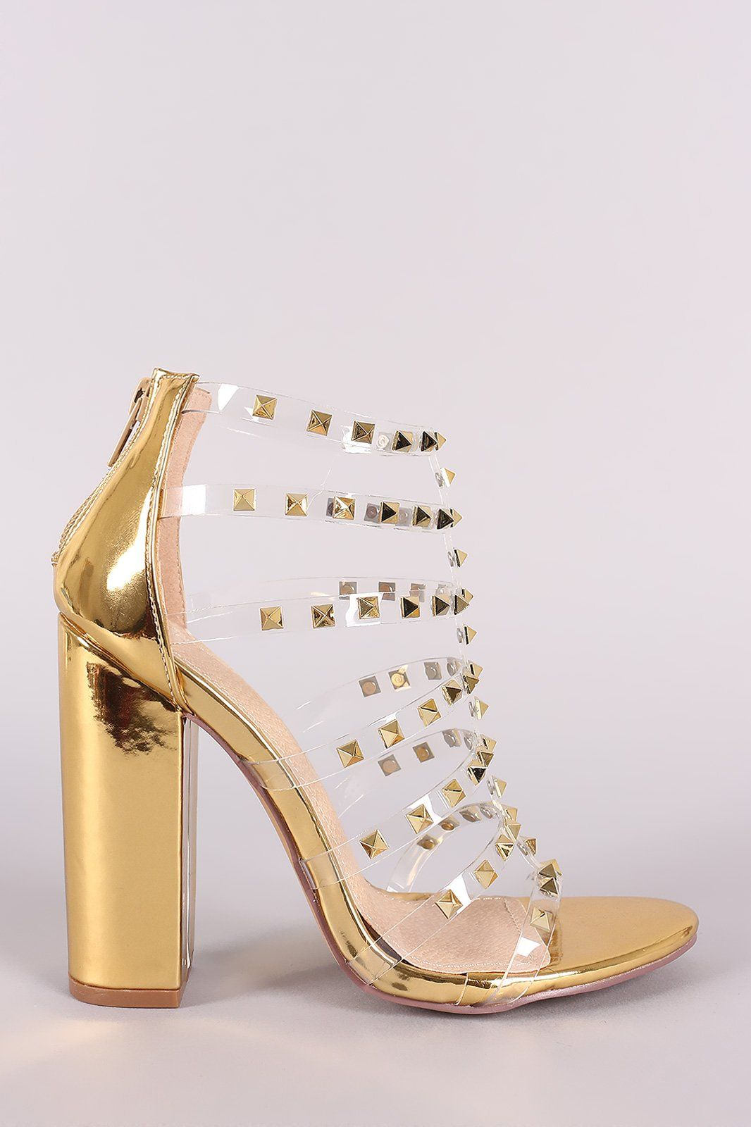 e8c7eafab70 Liliana Clear Studded Straps Patent Chunky Heel   Products   Heels ...