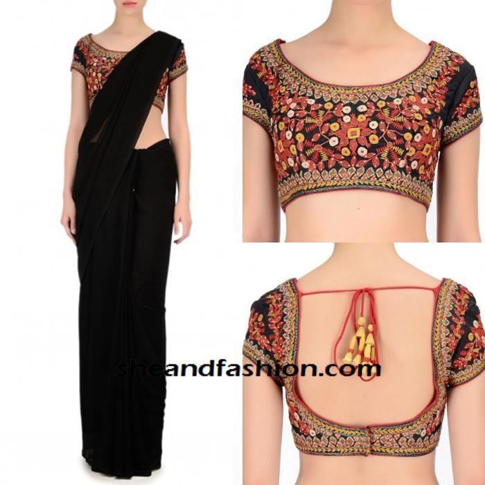 Designer Black Floral Embroidery Saree Blouse Neck Designs