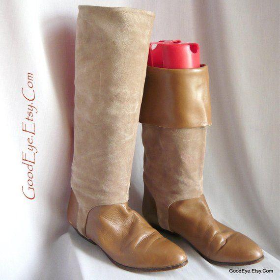 147a54b347f Vintage Italian Suede CUFF Boots / Size 7 .5 Eur 38 Uk 5 / Hana ...