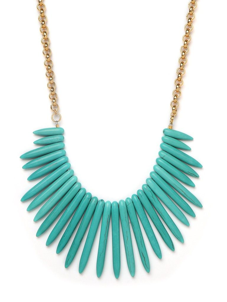 Turquoise bib necklace.