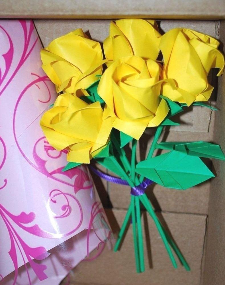 Origami paper roses flower bouquet Birthday Anniversary Valentine