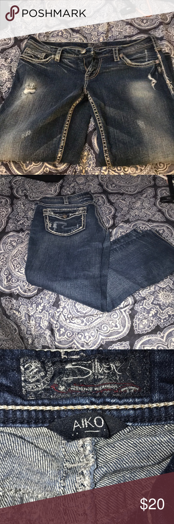 Silver cropped Aiko style jeans EUC Silver cropped jeans w/fake pockets  These were my fave!!! Silver Jeans Jeans Ankle & Cropped #wfaves Silver cropped Aiko style jeans EUC Silver cropped jeans w/fake pockets  These were my fave!!! Silver Jeans Jeans Ankle & Cropped #wfaves