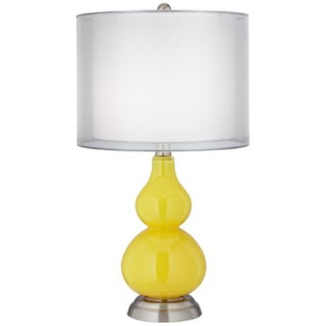 Citrus Yellow Double Shade Small Gourd Accent Table Lamp ...