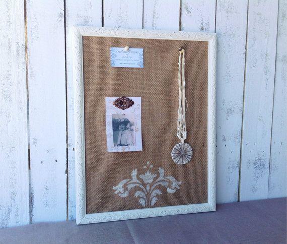 White framed bulletin board - shabby chic decor - vintage inspired ...