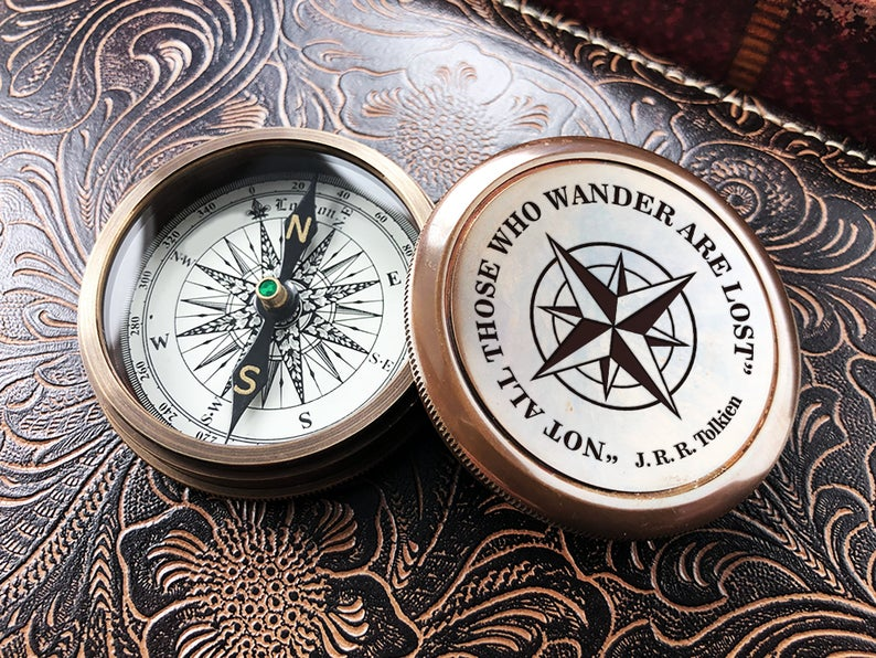 Engraved Compass Personalized Compass Groom Gift Compass