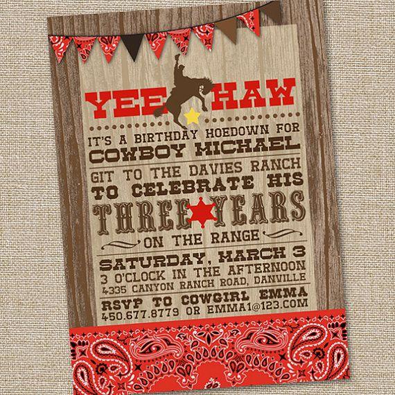 Yee Haw Western Cowboy Invitation Printable Cowboy Invitation