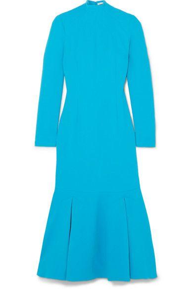 bb92f5af81f0 Emilia Wickstead Prudence Cloqué Turtleneck Midi Dress - Azure ...