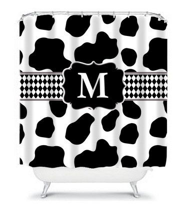 Holy Cow Print Monogram Shower Curtain By KMDesignsBG On Etsy 6800 Cowprint Showercurtain
