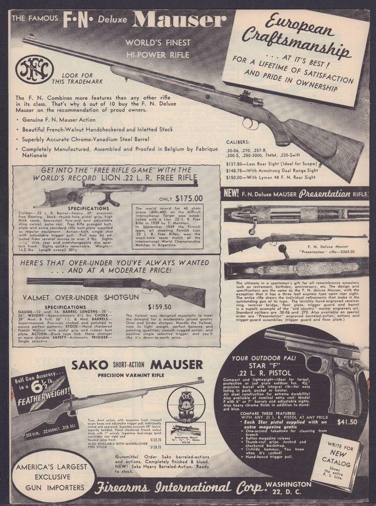 1953 F N  FN Deluxe MAUSER, Sako Short Action Rifle Firearms