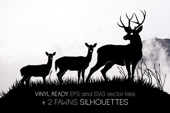 Deers and fawns silhouettes by Side Project on @creativemarket