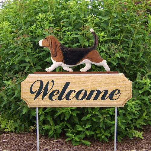 3 Coat Styles-Basset Hound Welcome Sign Stake.Home Decor,Yard & Garden Dog Wood Products-Gifts