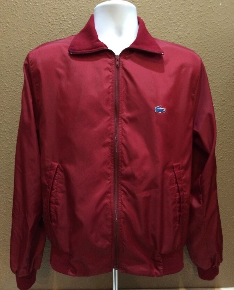 d2543271d7b9 VINTAGE IZOD LACOSTE BLUE ALLIGATOR MEN S MEDIUM RED RAIN WINDBREAKER JACKET   Lacoste  Windbreaker