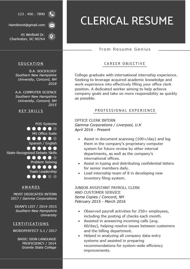 Clerical Worker Resume Example Writing Tips Resume Genius Resume Examples Resume Writing Tips Resume Templates