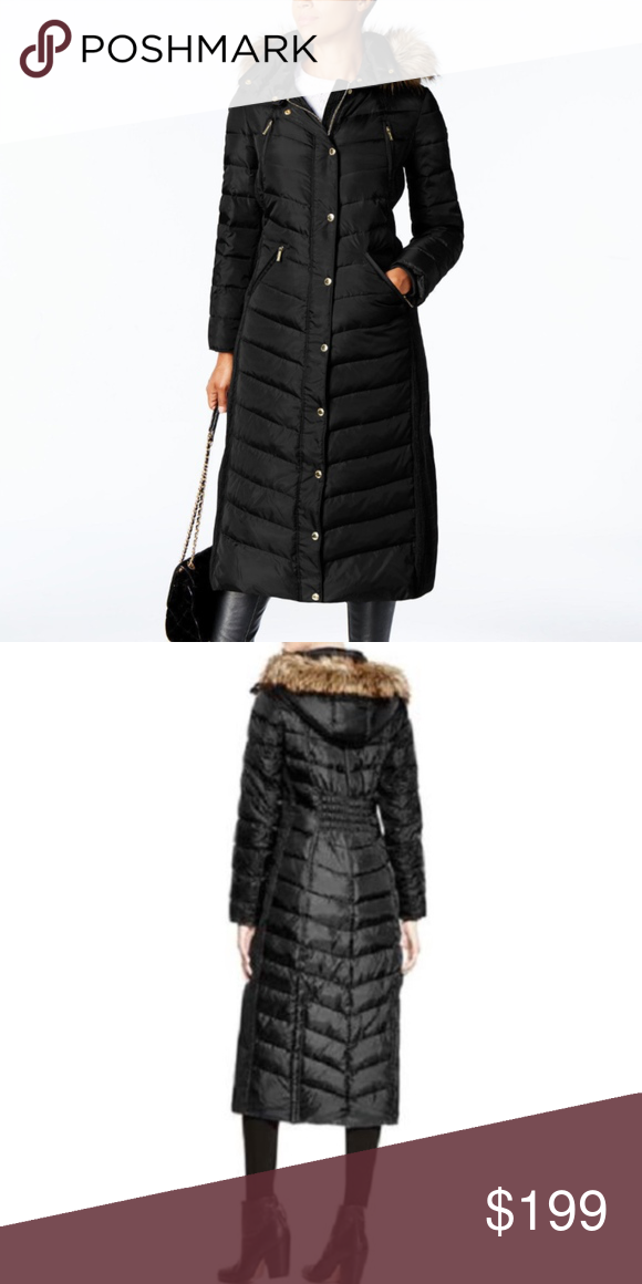 3a21afb83 Michael Kors Faux-Fur-Trim Hooded Maxi Coat XS Cozy knit panels and ...